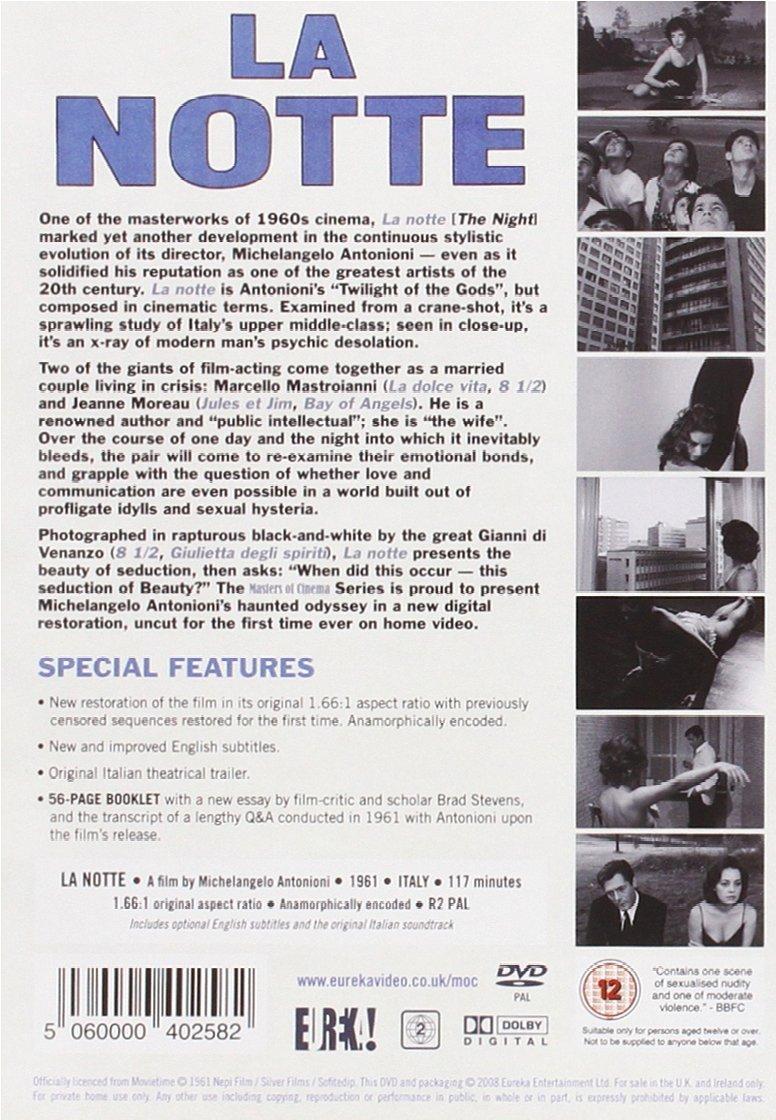 la notte masters of cinema 1961 dvd amazon co uk la notte masters of cinema 1961 dvd amazon co uk michelangelo antonioni dvd blu ray
