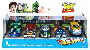 Hot Wheels V9984 Toy Story - Pack de 5 vehículos con diseño de personajes (RC, Wheelin Woody, Special Paint Edition Buzz, Land Speed Lenny y Rocky Road): Amazon.es: Juguetes y juegos