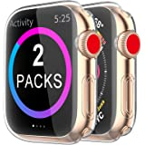 BRG Case for Apple Watch Series SE 6 5 4 3 Screen Protector 40mm 44mm 38mm 42mm,[2 Pack] Soft TPU HD Clear Ultra-Thin Overall