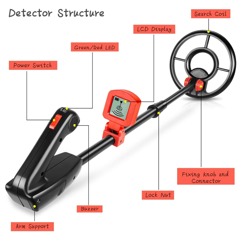 amzdeal - Detector de Metales Ligero con función de Todo Metal y discriminación, Detector de Metales clásico con Bobina de búsqueda Impermeable, ...