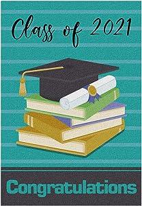 Meltelof Class of 2021 Garden Flag, Congratulation Garden Flag, High School College Graduation Porch Decor, 2021 Graduation Outdoor Home Decor -12x18 Inch Double Side