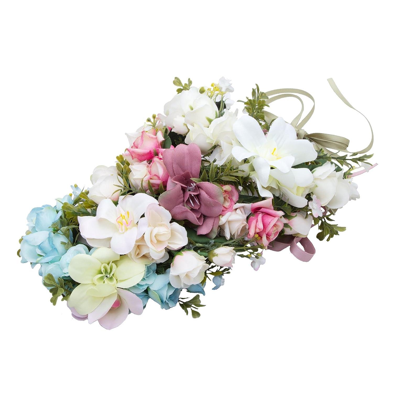 AWAYTR Cerchietto fiori matrimonio capelli corona floreale corona