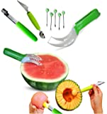 Stellar Homeware Watermelon Slicer and Kitchen Utensils Bundle - 8 Items: 1 Watermelon Slicer and Fruit Server, 1 Melon Baller Scoop with a Fruit Carving Knife, 1 Apple Corer and 5 Fruit Forks
