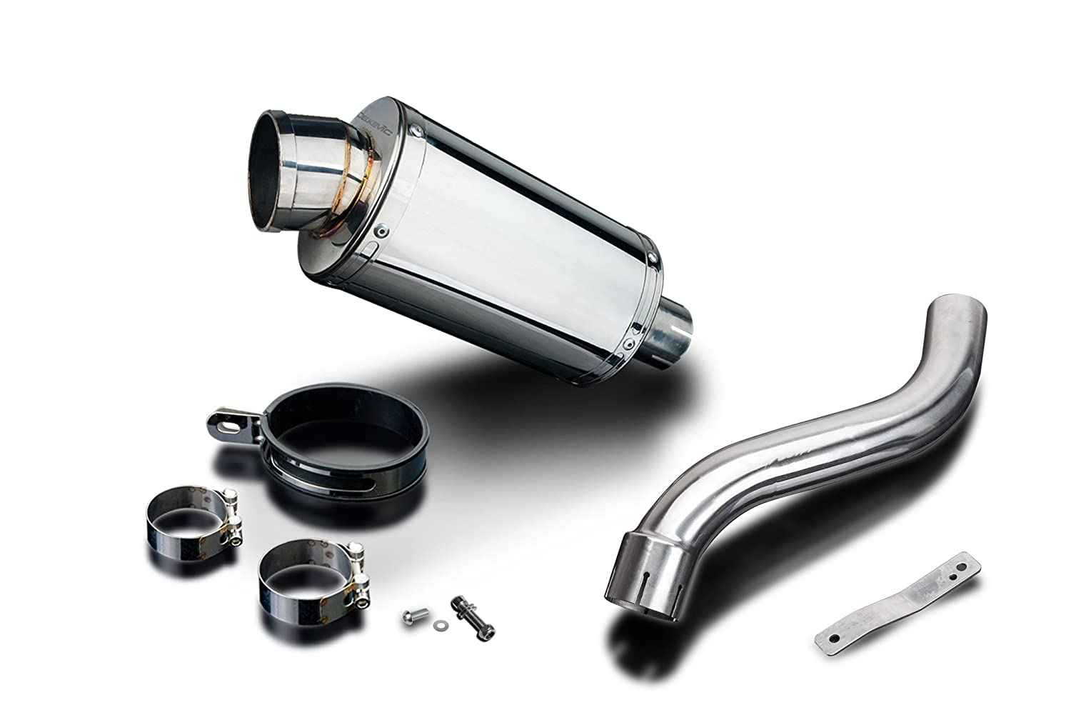 Delkevic Aftermarket Slip On compatible with Suzuki SV650 High Level SS70 9 Stainless Steel Oval Muffler Exhaust 98-02