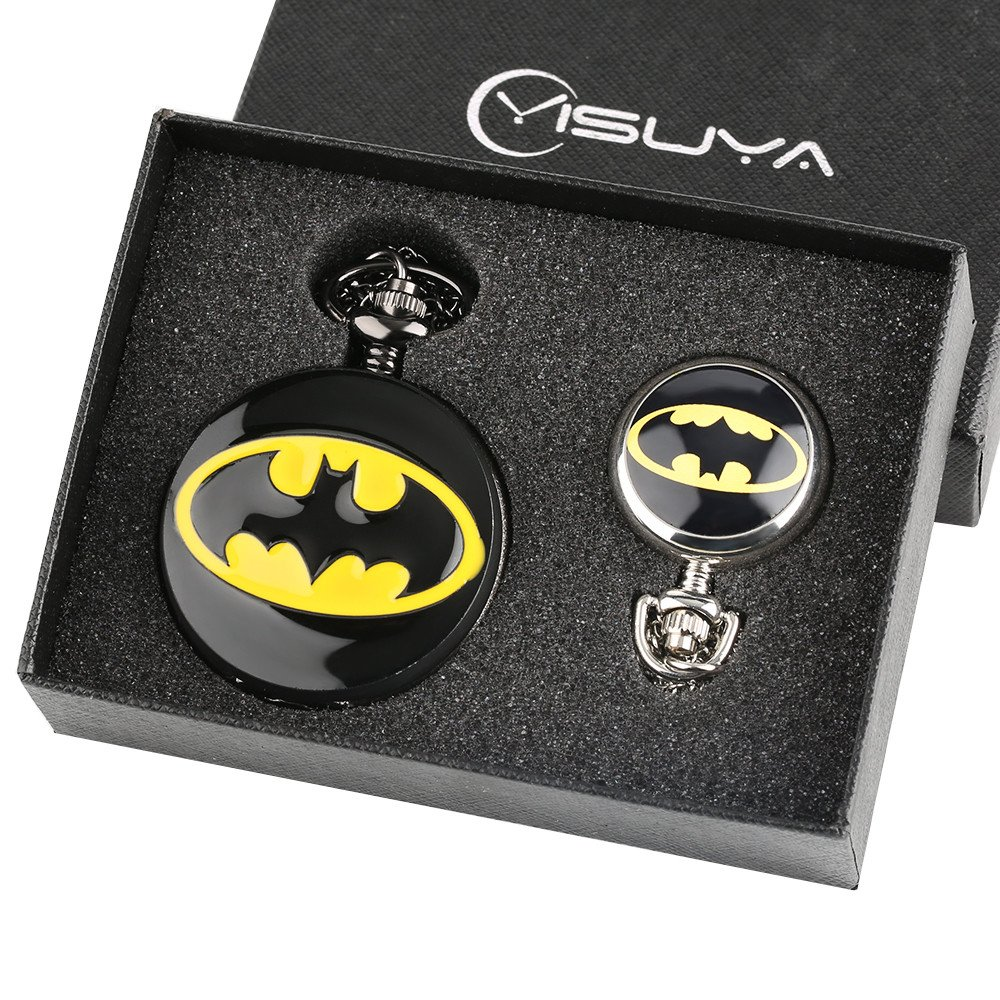Batman Pocket Watch for Boys Men Gift Set Cool 3D Bat Fob Watches Big and Small Size Pocket Watches