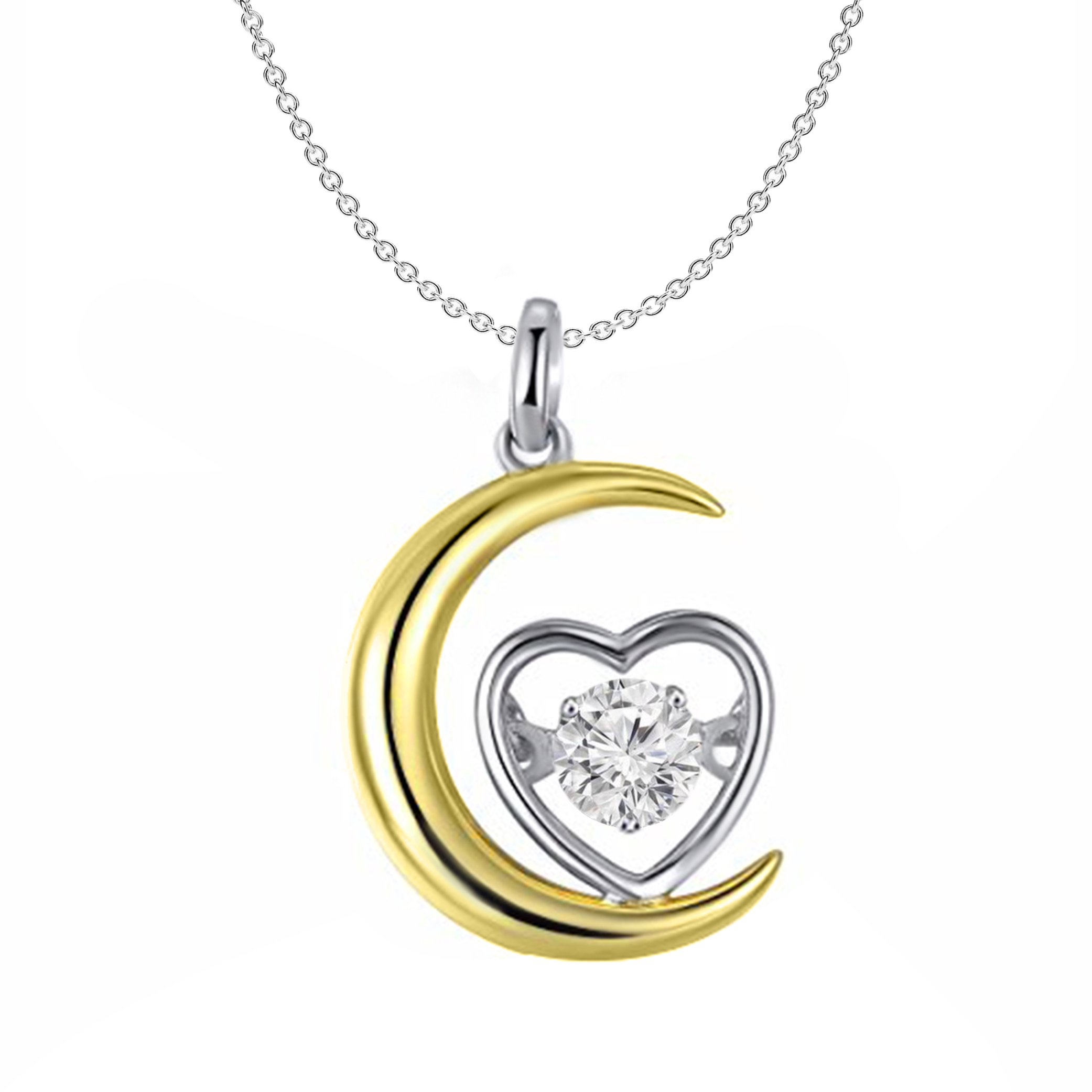 0.10 Ct Round Cut Natural Diamond 10K Gold Moon & Love Heart Pendant Necklace (yellow-gold)