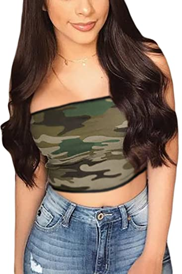 bb03b0f7b7 Women Casual Tube Top Camouflage Crop Top Summer Slim T-Shirt Bandeau  Camouflage XS