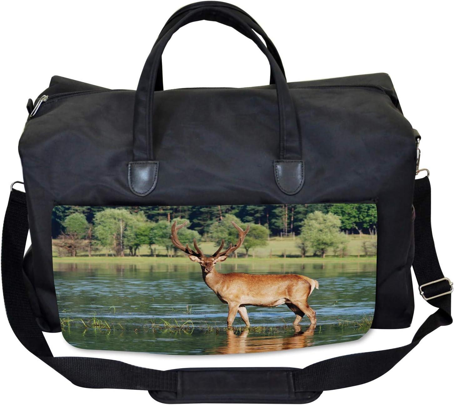 Mountain Animal in Water Ambesonne Deer Gym Bag Large Weekender Carry-on