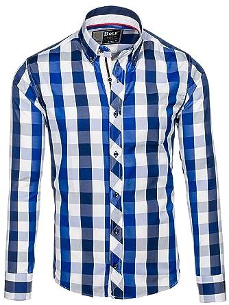 42337b1f93de BOLF Herren Hemd Business Langarm Herrenhemd 2B2 Kariert MIX Casual Slim Fit   Amazon.de  Bekleidung