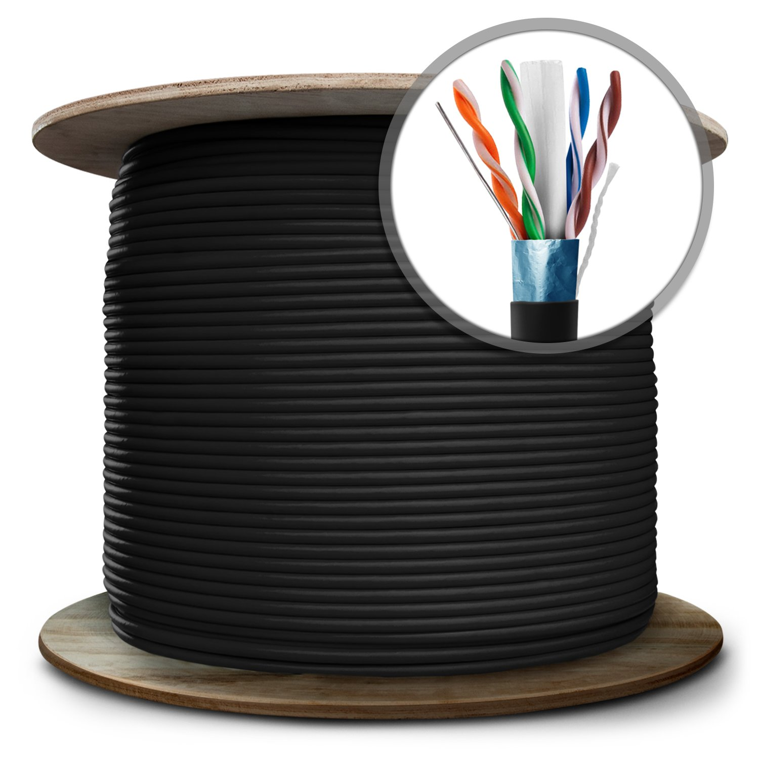 GearIT 1000 Feet Bulk Cat6 PET Film Shielded Direct Burial (CMX) Ethernet Cable for Ourdoor - Solid Twisted Pair - Cat 6 23AWG STP Full Copper Wire PVC UV, Black by GearIT