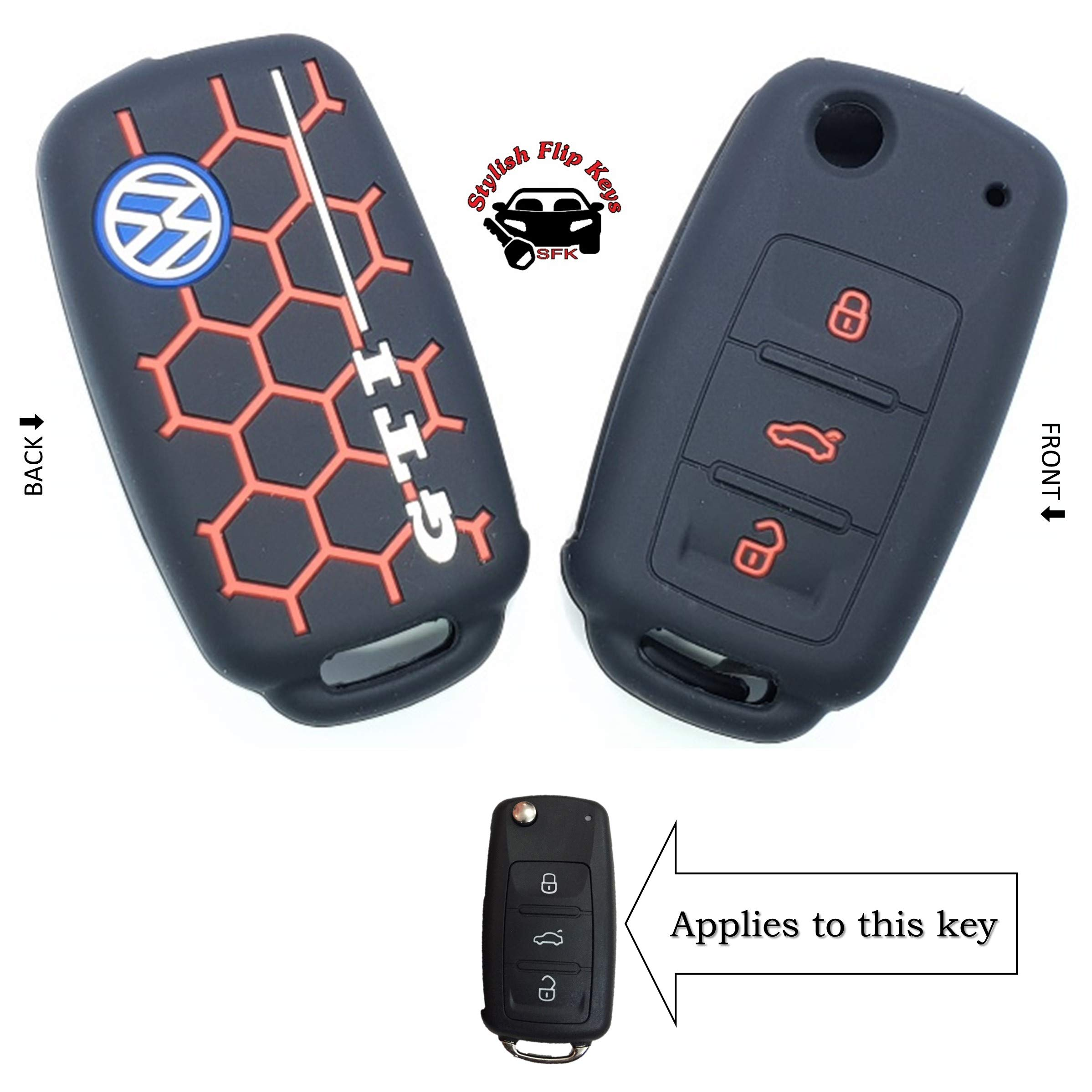 SFK Silicone Flip Key Cover for Volkswagen Polo/Vento/Jetta/Passat Flip Keys (VW 3 Button Flip Keys) (VW-8-GTI-Red-On-Black) product image