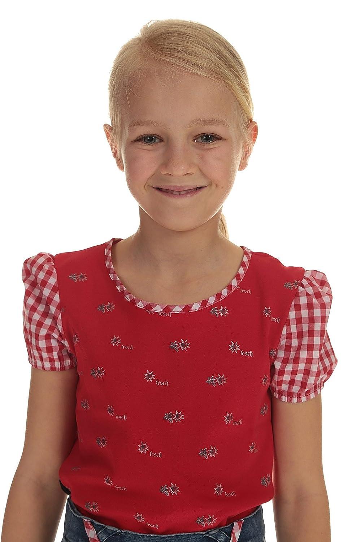 Stoiber Kinder T-Shirt rot Trachten Shirt Mädchen mit Edelweiß und Puffärmel