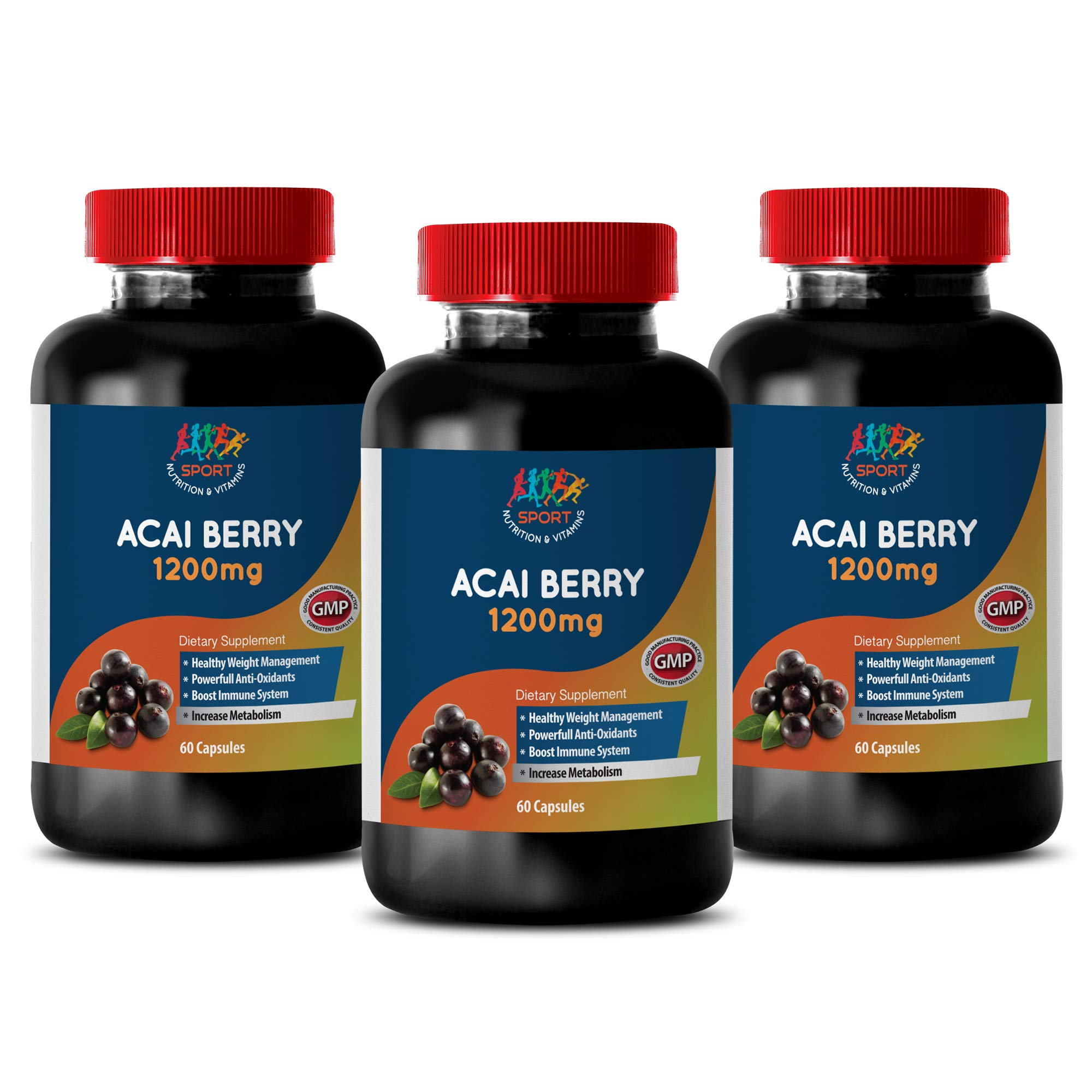 antioxidant for Women - ACAI Berry 1200 mg - Dietary Supplements - Acai - 3 Bottles (180 Capsules)