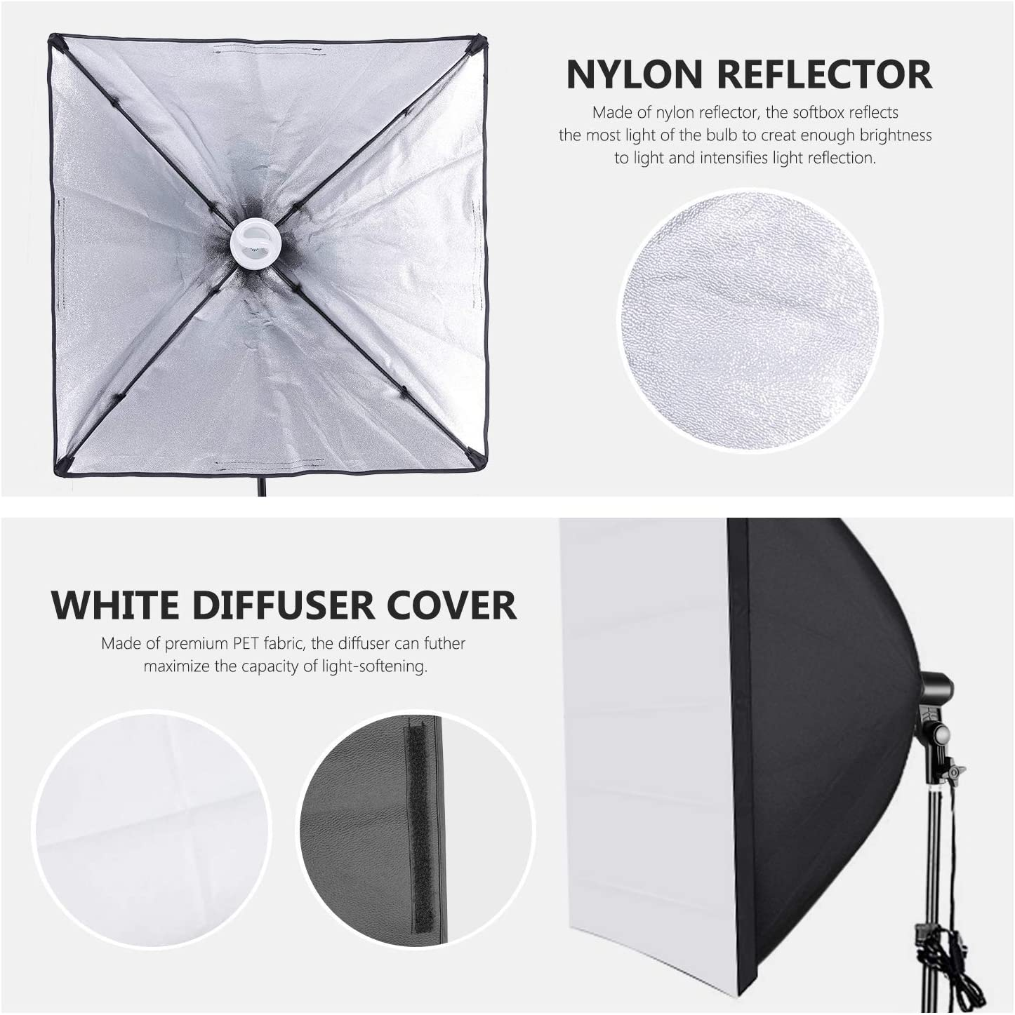 Neewer 700W Professional Photography 24x24 inches//60x60 Centimeters Softbox with E27 Socket Light Lighting Kit