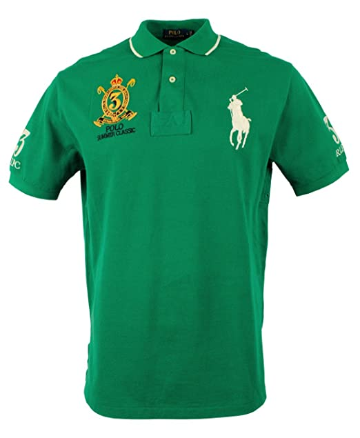 Polo Ralph Lauren Green/White Large Pony Rugby Mesh Summer Classic Men\u0027s  Shirt (XXL