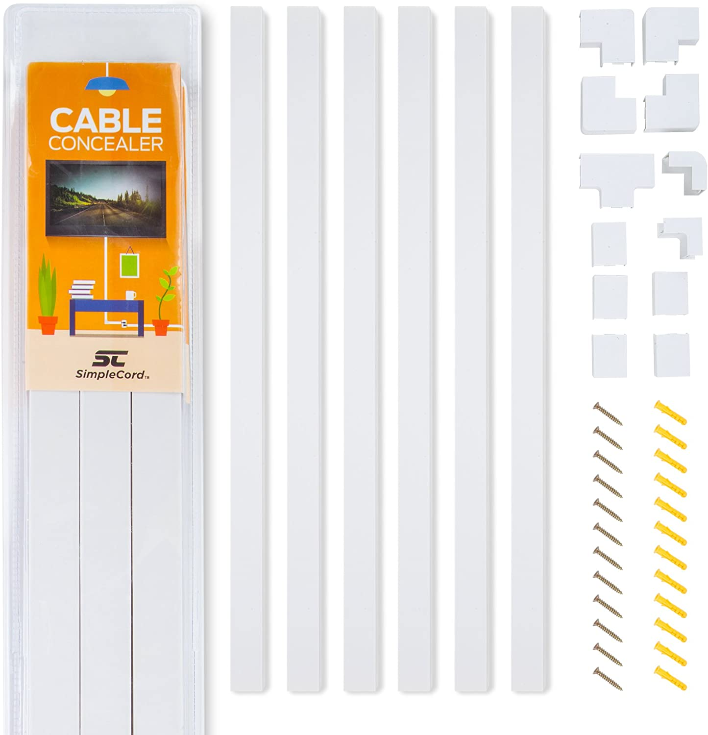 Simple Cord Cable Concealer On-Wall Cord Cover Raceway Kit - Cable on