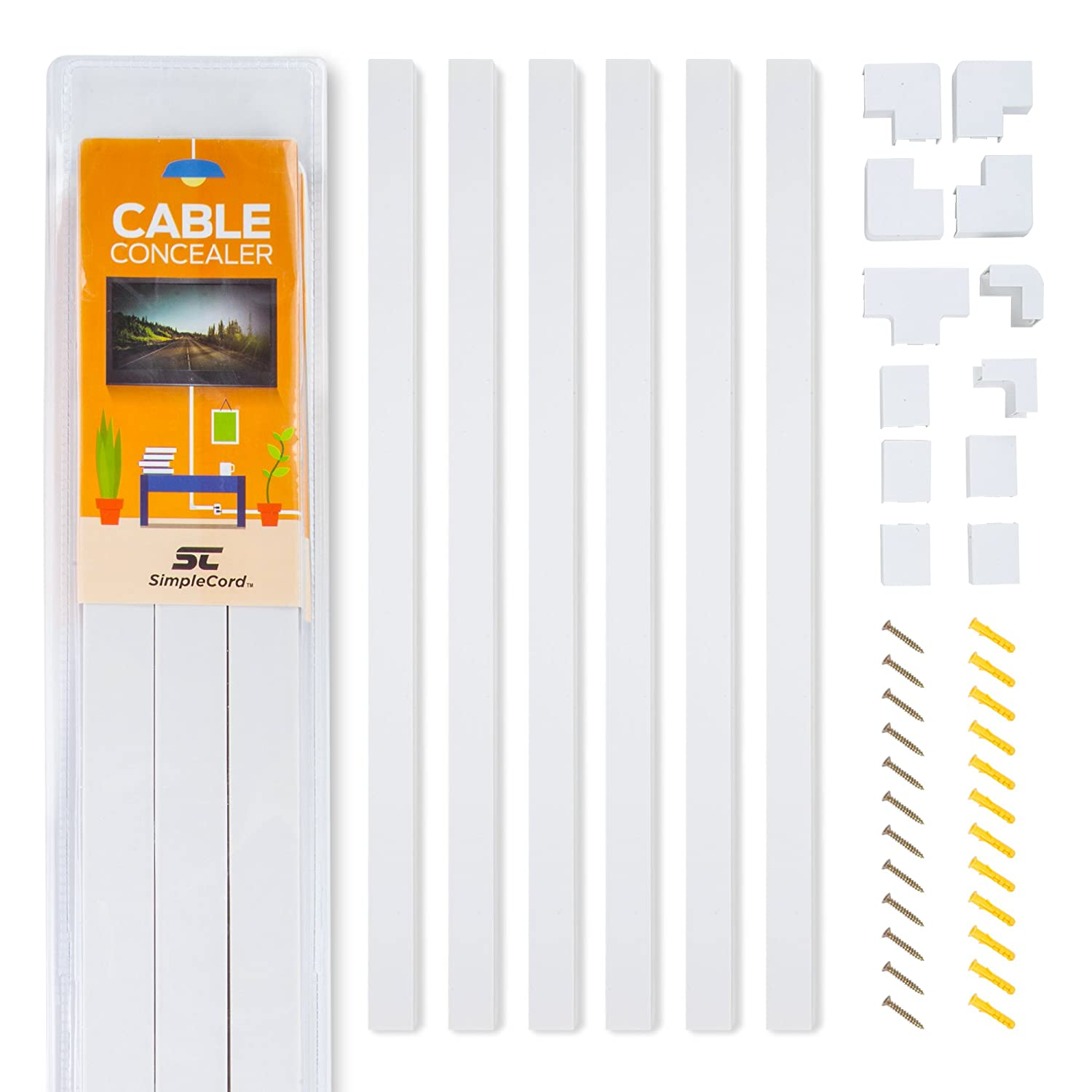 Cable Concealer On-Wall Cord Cover Raceway Kit - Cable Management System to Hide Cables, Cords, or Wires - Cord Organizer for TVs and Computers at Home or in The Office