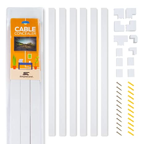 Amazon.com: Cable Concealer On-Wall Cord Cover Raceway Kit - Cable ...