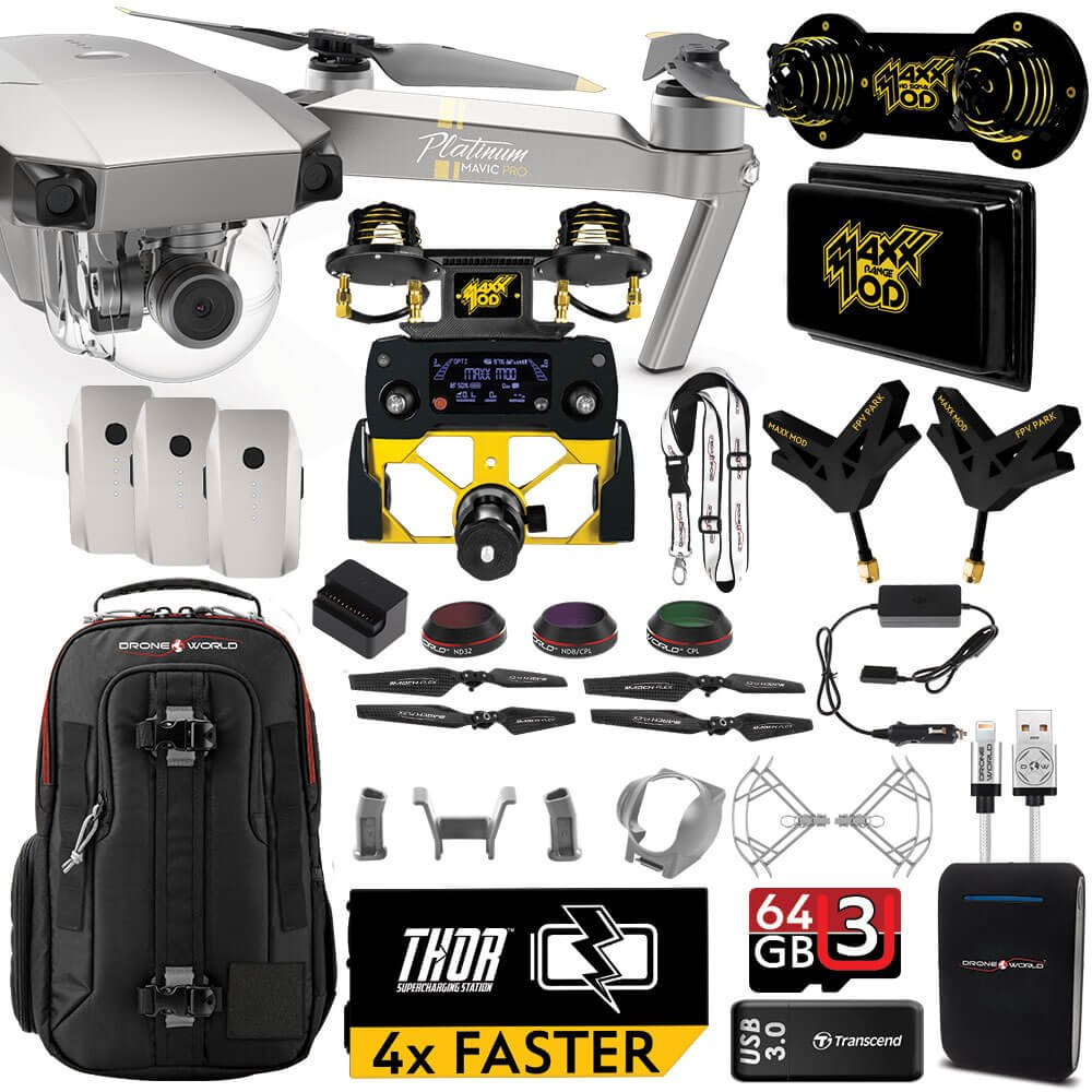 DJI Mavic PRO Platinum MaXX Mod Long Range Kit w/ Backpack, Custom Bracket + Mount, Sunshade, 3 Batteries + Thor Charger, Lens Filters & More