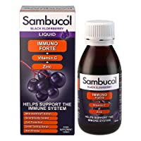 Sambucol Natural Black Elderberry Immuno Forte with Vitamin C, Zinc, a great tasting Immune System Booster, and Cold & Flu Remedy for the family - 120ml