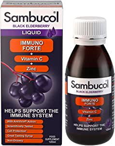 Sambucol Immuno Forte Black Elderberry Liquid with Vitamin C & Zinc, UK Version, 120ml