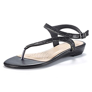 ba69e84633b36e LE MIU SERPENT Women Rhinestones Strap Gladiator Flat Sandals