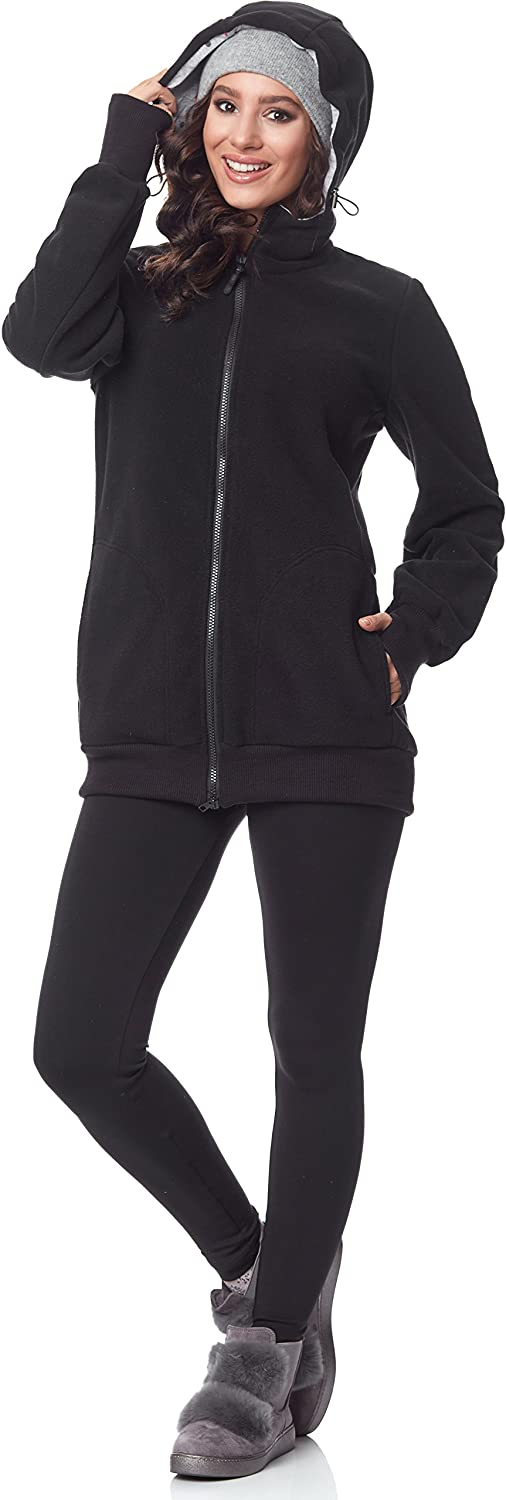 Bellivalini Women's Long Sleeve Maternity Jacket with Hood BLV50-117 Black