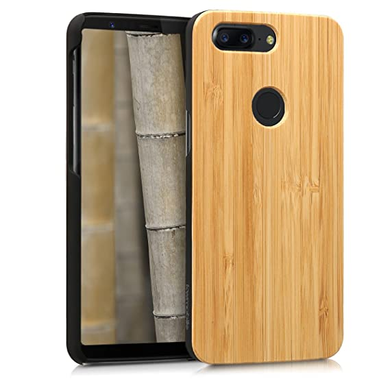 the best attitude 28a00 558d0 kwmobile OnePlus 5T Wood Case - Non-Slip Natural Solid Hard Wooden  Protective Cover for OnePlus 5T
