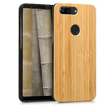 kwmobile Funda para OnePlus 5T - Carcasa Posterior de [Madera] - Case Protector [Duro] en [marrón Claro]
