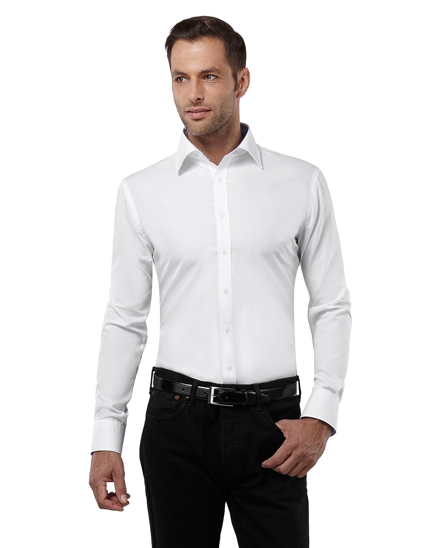 TALLA 37/38. Embraer Camisa de Hombre, Ajustada Entallada (Slim-fit), 100% algodón, Manga-Larga, Cuello Kent, con entredós de Contraste, Lisa - no Necesita Plancha