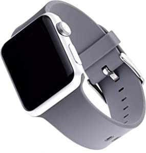 WITHit Silicone Replacement Band for Apple Watch, 38/40mm, Light Gray – Secure, Adjustable Stainless-Steel Buckle Closure, Apple Watch Sport Band Replacement, Fits Most Wrists