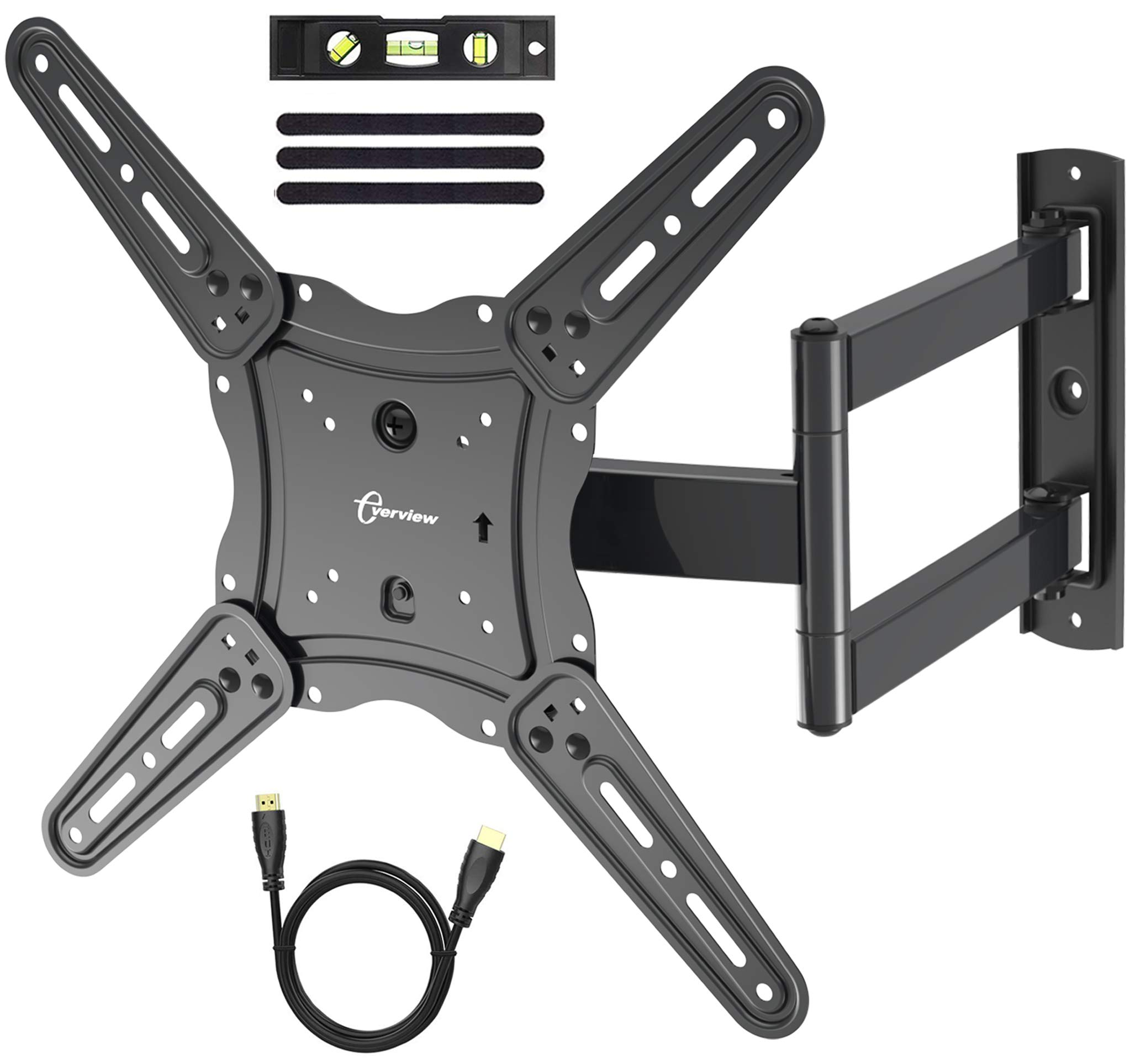 TV Wall Mount Bracket fits to Most 26-55 inch LED,LCD,OLED Flat Panel TVs, Tilt Full Motion Swivel Articulating Arms, TV Bracket VESA 400X400, 77lbs Loading with HDMI Cable, Cable Ties EVERVIEW by EVERVIEW