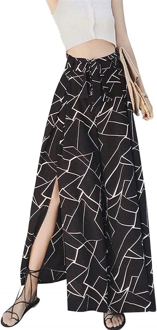 BoBoLily Mujer Pantalon Verano Elegantes Cintura Alta Impresión ...