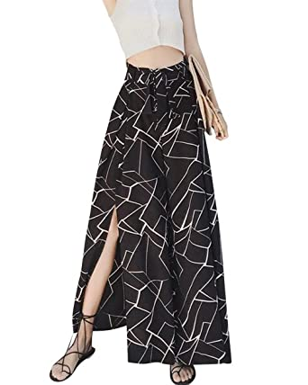 Battercake Mujer Pantalon Verano Elegantes Cintura Alta Impresión ...