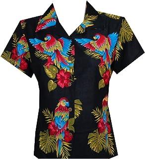 6b605334 Hawaiian Shirts Women Hibiscus Flower Aloha Beach Top Blouse Casual ...