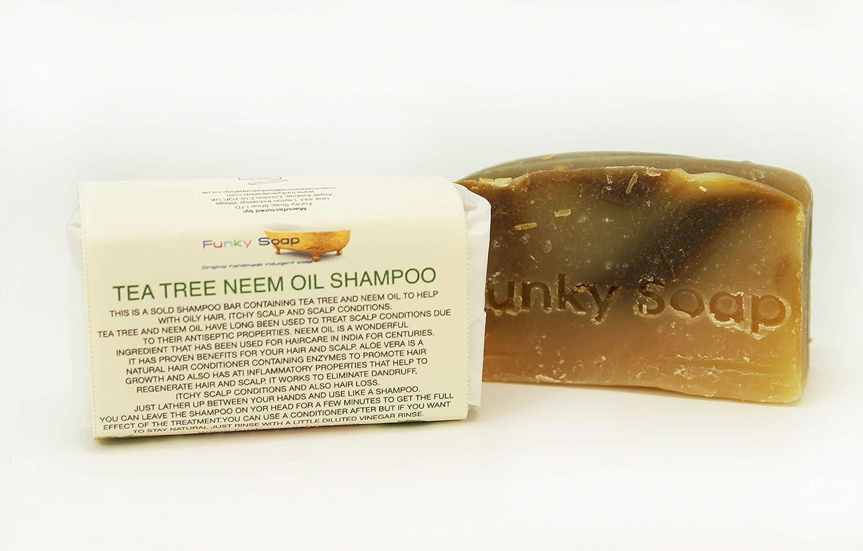 1 pezzo Tea Tree & NEEM OLIO SHAMPOO BAR, 65G, 100% Naturale Artigianale Funky Soap