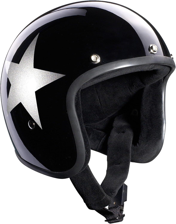 Bandit Helmets Jethelm Star Black Jet Sports-Farbe:glossy black;Gr/ö/ße:M 57-58 Motorradhelm mit Sonnenschild