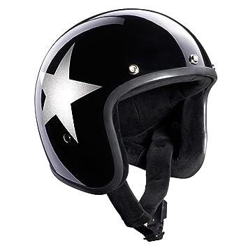 Bandit Casco Star Black Jet, para moto, casco con visera de sol