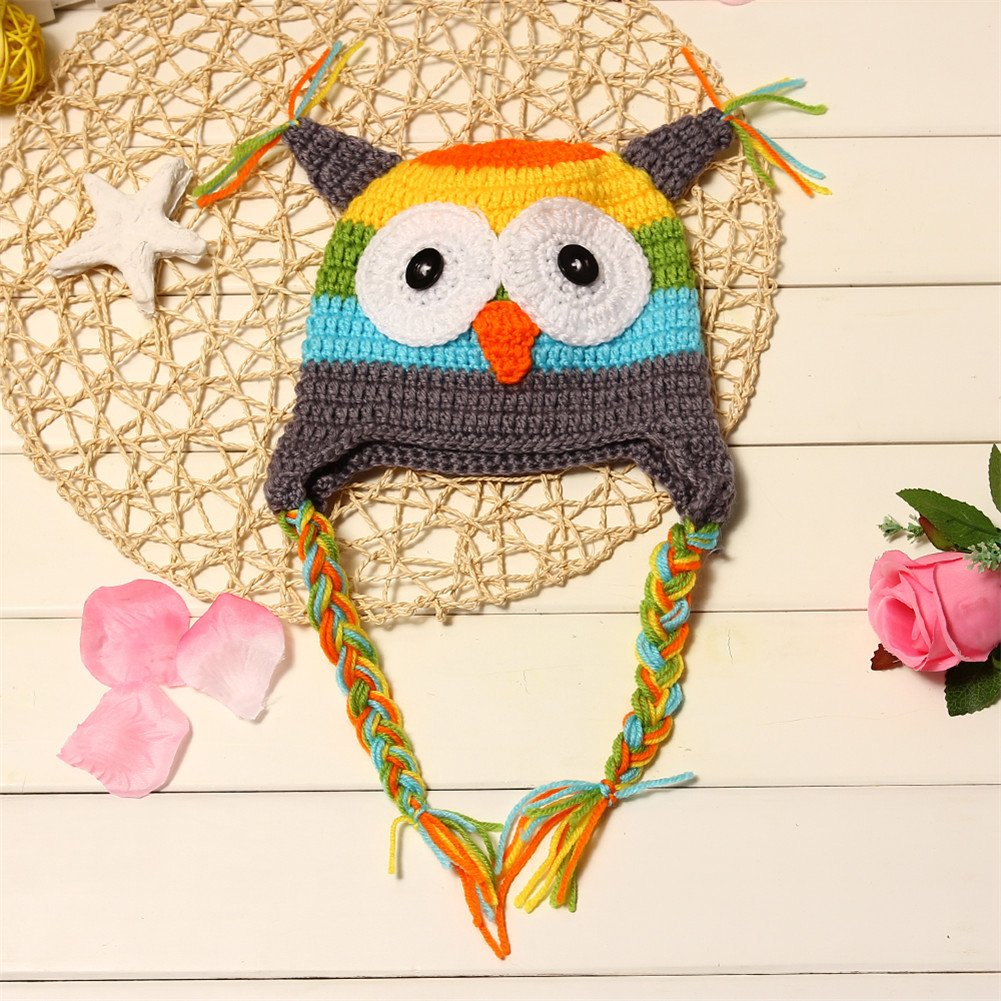 Amazon.com : NEW Infant Crochet Owl Hat (Gray) : Child Carrier ...
