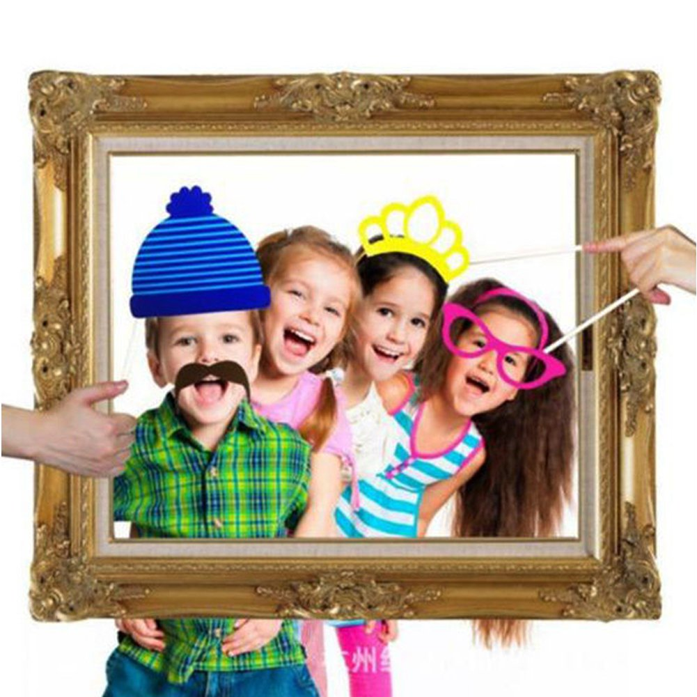 photo booth props large picture frame 24pcs photo props diy funny faces party wedding christmas birthday amazoncouk kitchen home - Diy Photo Booth Frame
