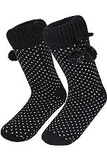 Women's Cozy Soft Slipper Socks Warm Knit Fuzzy Fleece Lined Non Slip Casual Stockings