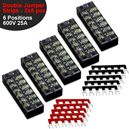 6 Position Screw Barrier Strip Terminal Block w// Cover 25A