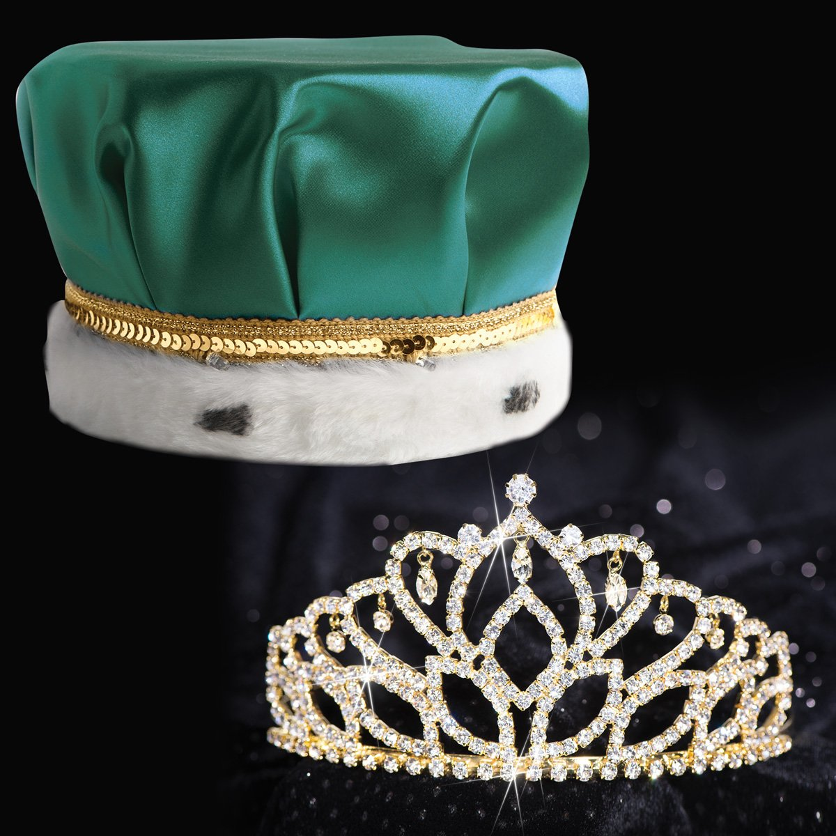 Mirabella Royalty Set, 2 7/8 inch High Gold Mirabella Tiara and Green Satin Crown with Sequin Band, White Fur