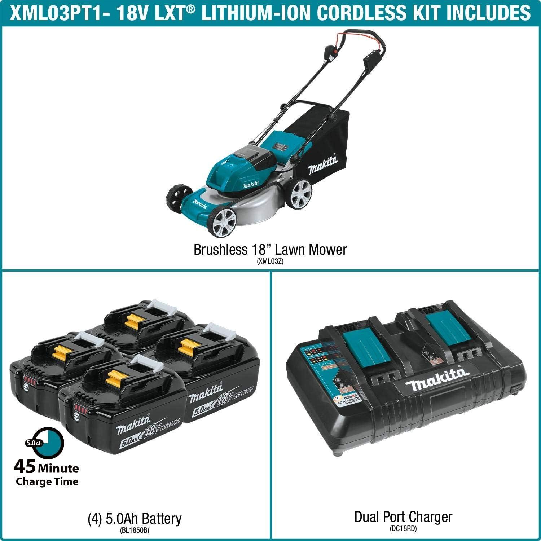 "Makita XML03PT1 18V X2 (36V) LXT Lithium‑Ion Brushless Cordless (5.0Ah) 18"" Lawn Mower"