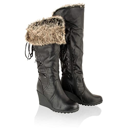 f6a81713648 Taylor-Unikue Womens Mid Wedge Knee High Heel Boots Ladies Calf Fur Lined  Winter Shoes Size