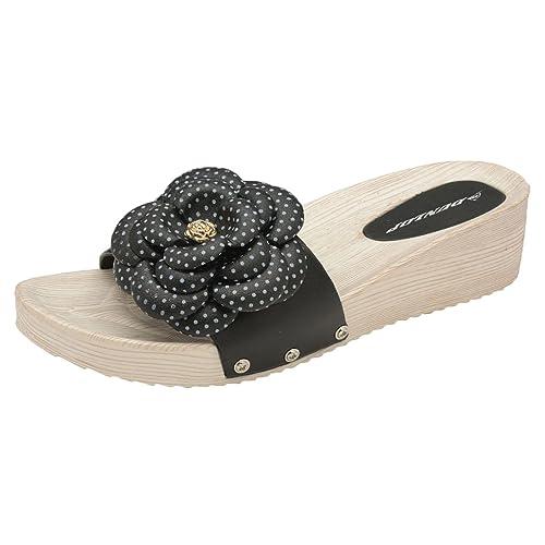 38f83ff329ea Dunlop Ladies Low Wedge Womens Summer Fit Flip Flop Toe Post Crystal Sandals  Mules (UK