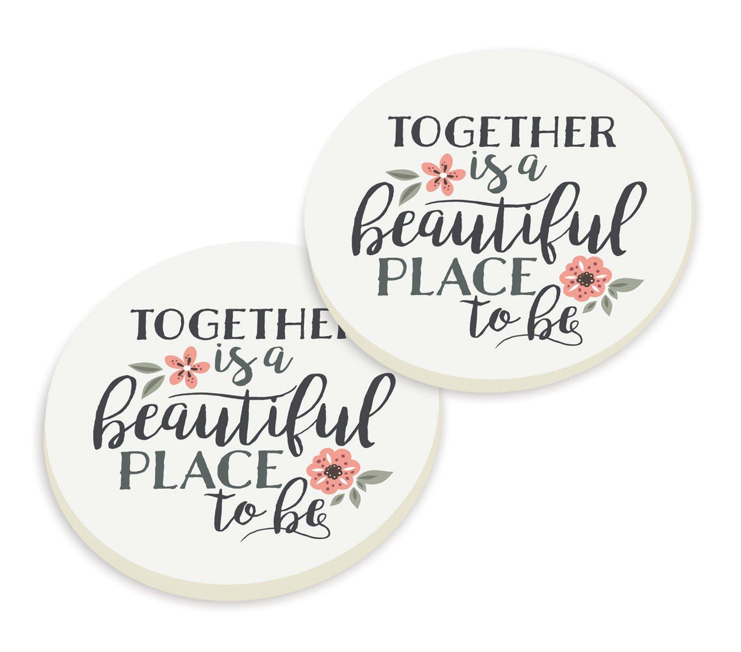Together Is A Beautiful Place To Be Floral Set of 2 Ceramic Car Coaster Pack P Graham Dunn CSTP0079