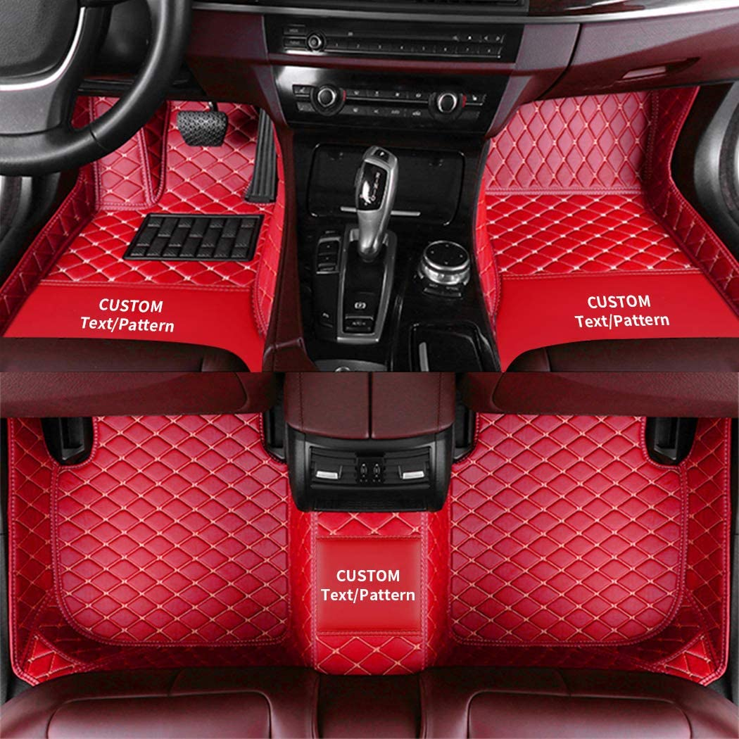 Custom Diamond Floor Mats Cargo Liners for Car SUV Van & Truck Sedan Coupe Customizable Front and Rear Liners All Weather Protection Red