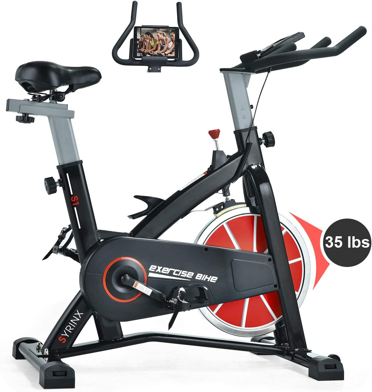 SYRINX Indoor Cycling Bike-Belt Drive Indoor Exercise Bike,Stationary Cycle Bike