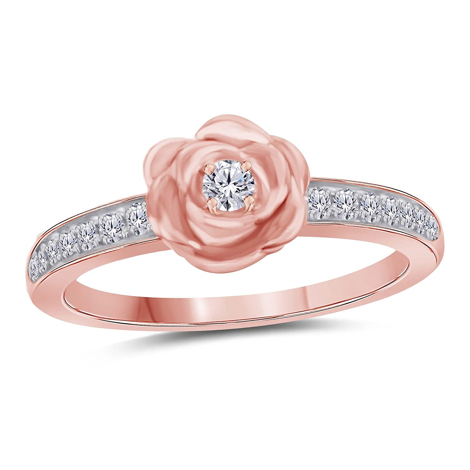 Amazon.com: SRJEWELS 14k Rose Gold Plated Alloy Created Simulated ...